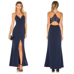 Lovers + Friends Helena Cut-Out Back Navy Gown
